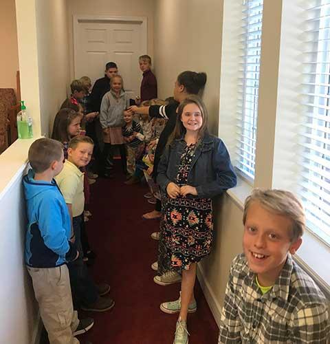 Children Waiting for Sunday School to Begin